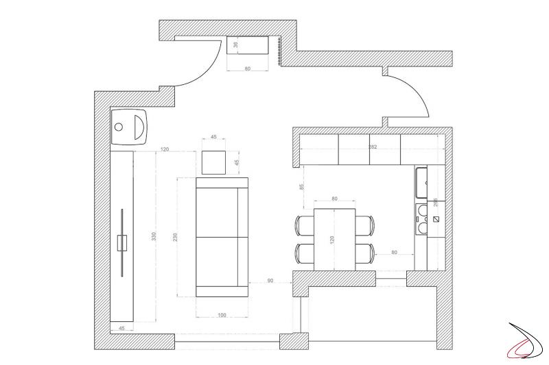 Piantina 2D open space con disposizione arredi