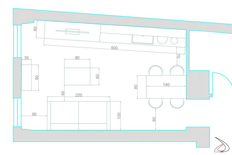 Quote su piantina di cucina soggiorno monolocale con arredamento