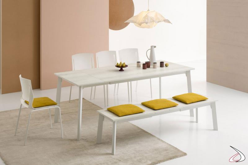 Tavolo da soggiorno moderno allungabile con panca