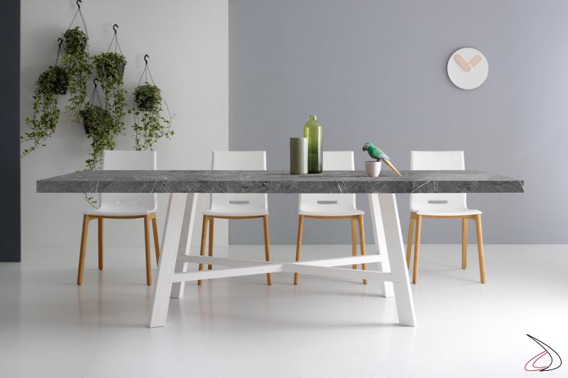 Tavolo allungabile di design in laminato marmo grigio