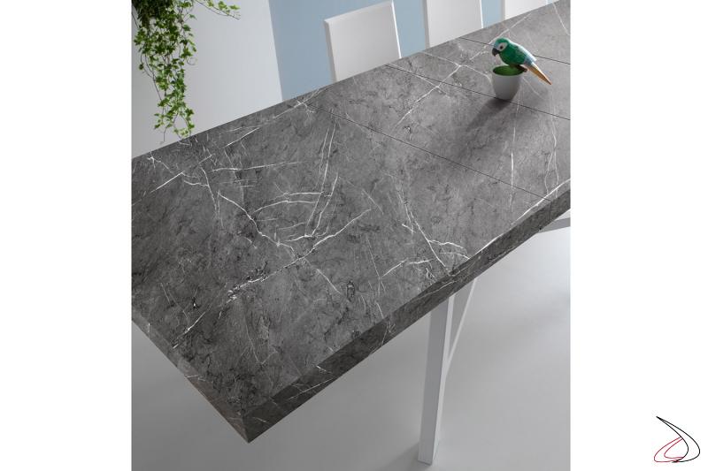 Tavolo allungabile moderno in laminato cleaf marmo grigio