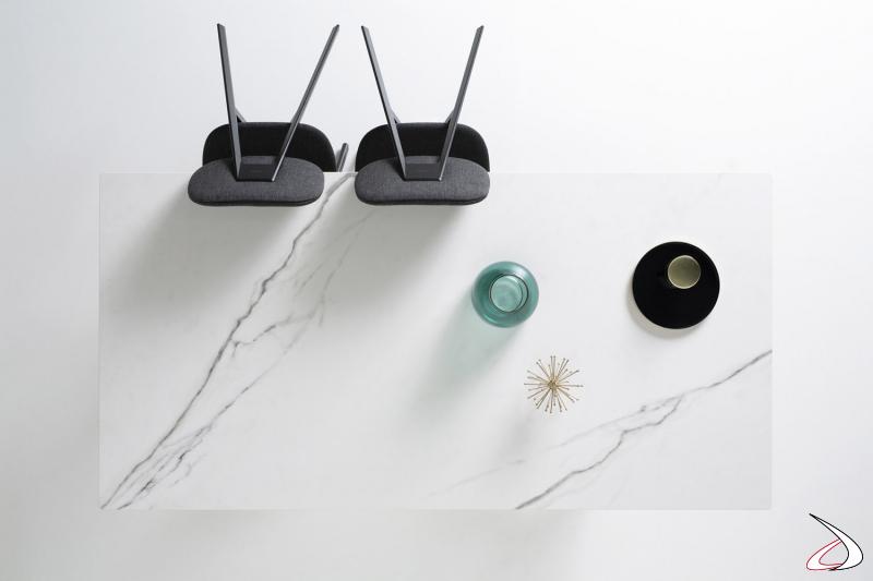 Tavolo fisso in ceramica bianca di design da soggiorno