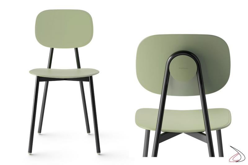 Sedia moderna colorata verde per tavolo cucina