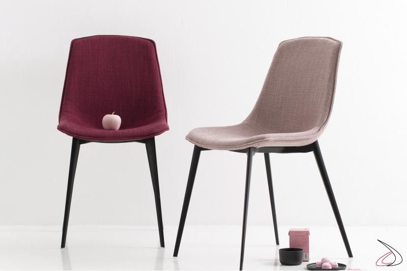 Sedia imbottita moderna in tessuto con gambe in metallo