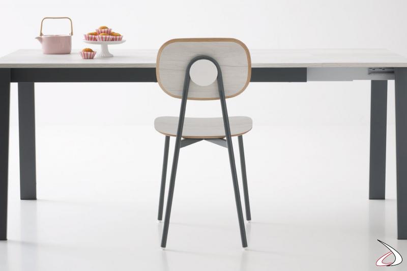 Sedia moderna con seduta e schienali divisi in melaminico quercia bianco
