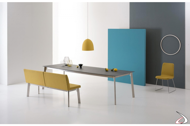 Panca moderna imbottita allungabile per tavolo soggiorno con schienale alto