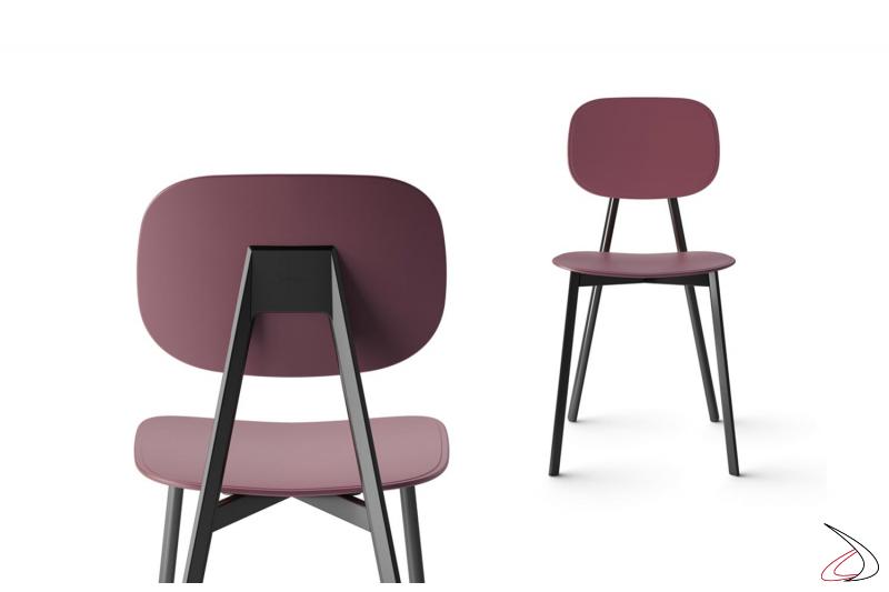 Sedia in polipropilene grigio grafite di design con 4 gambe in metallo