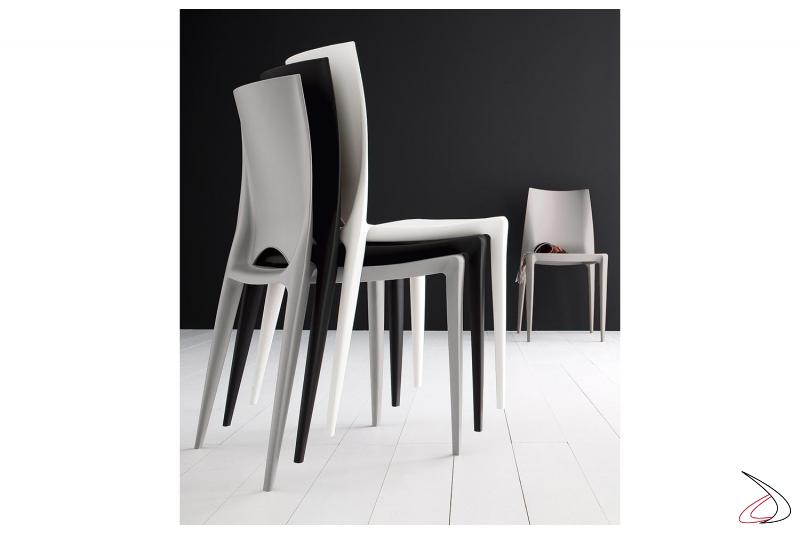Sedia impilabile moderna da cucina leggera in polipropilene grigia, nera o bianca