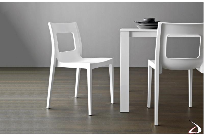 Sedia bianca moderna leggera in polipropilene per tavolo soggiorno