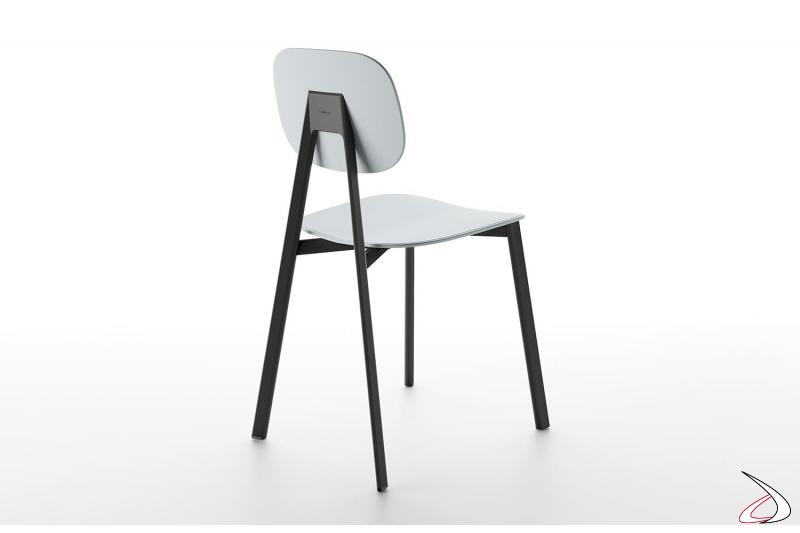 Sedia design con seduta e schienali rotondi in polipropilene grigio chiaro