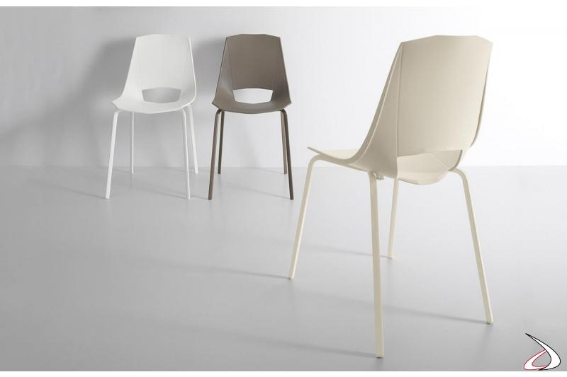 Sedie colorate moderne da soggiorno in polipropilene con gambe in metallo