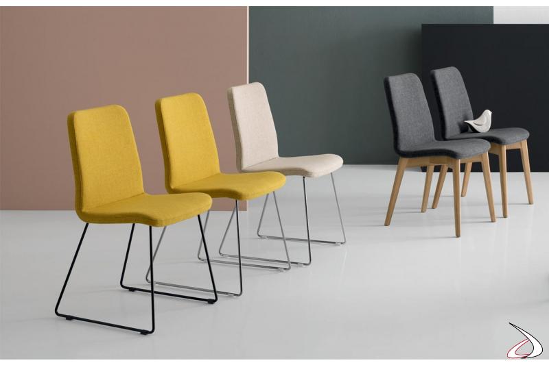 Sedie di design su slitta per tavolo soggiorno con seduta comoda imbottita