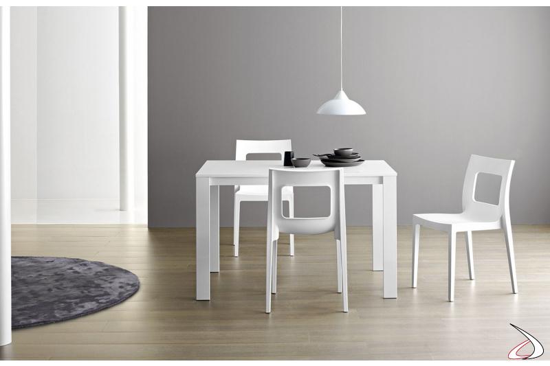 Tavolo bianco di design da cucina allungabile con piano in laminato cleaf