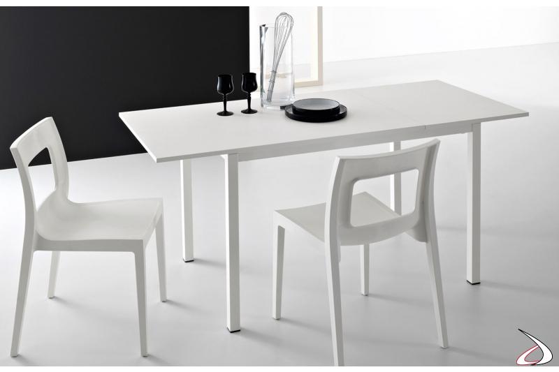 Tavolo cucina economico allungabile bianco con una allunga e gambe bianche