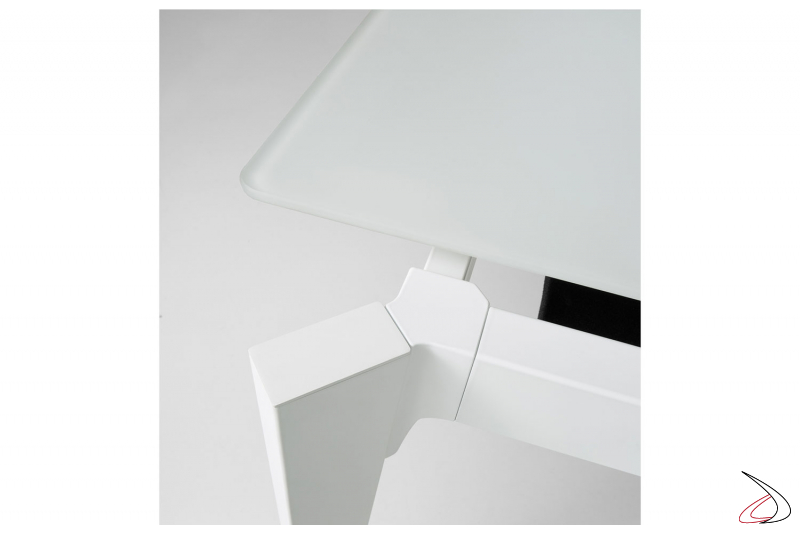 Tavolo soggiorno allungabile moderno con piano in vetro bianco