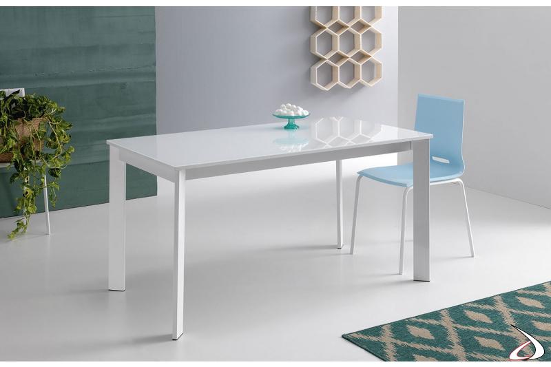 Tavolo piccolo di design da cucina in vetro bianco allungabile con gambe in metallo bianco