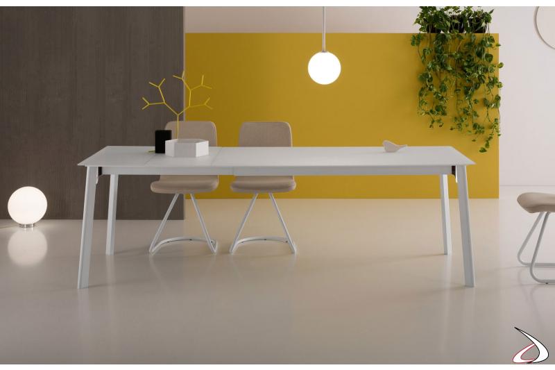 Tavolo bianco moderno da soggiorno allungabile in vetro per 10 persone