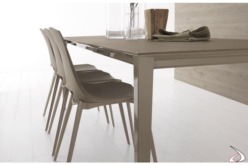 Tavolo allungabile per 10 persone da soggiorno con gambe telescopiche in alluminio