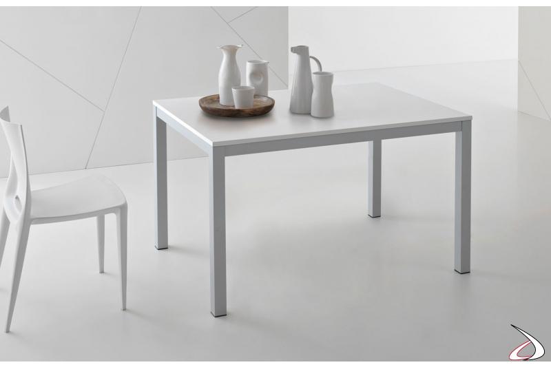 Tavolo moderno economico allungabile da cucina bianco con gambe grigie