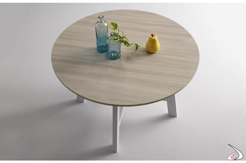 Tavolo rotondo fisso con piano in melaminico olmo chiaro e basamento verniciato bianco
