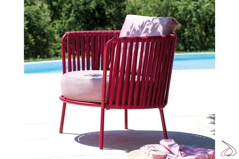 Poltrona colorata rossa Desiree Rope per esterno