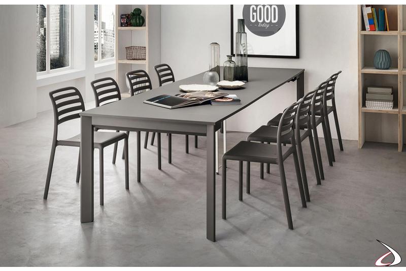 Consolle allungabile in tavolo da pranzo per 10 persone in fenix grigio londra