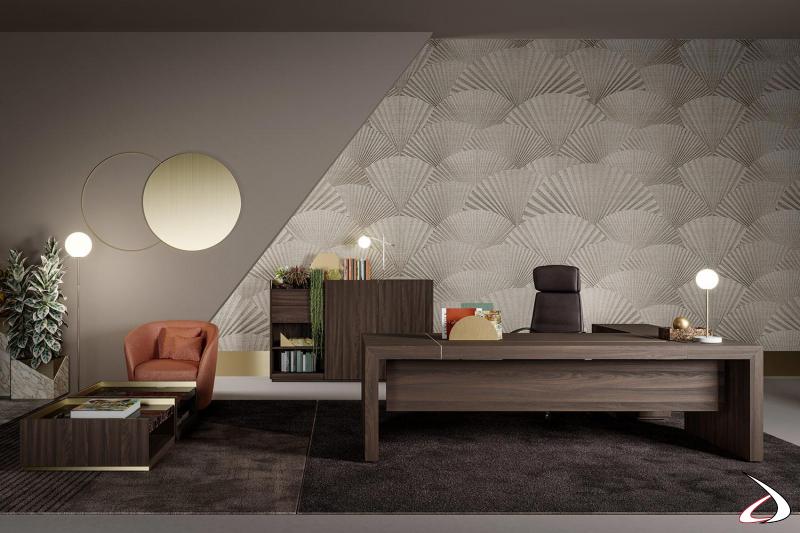 Scrivania ufficio di design da manager in legno ad angolo con cassettiera e profili in ottone
