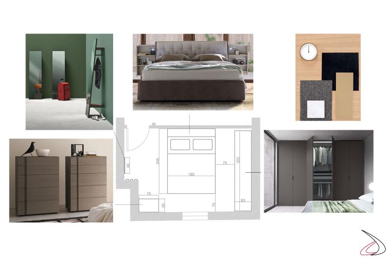 Progettazione camera da letto con immagini evocative e mood board