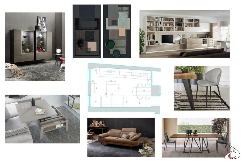 Progettazione monolocale con piantina, immagini prodotti e mood board finiture
