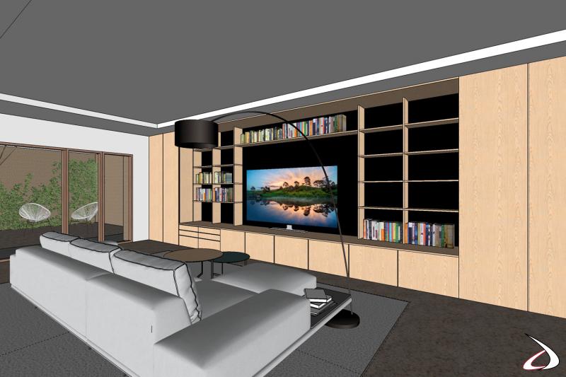 Render 3D arredo soggiorno