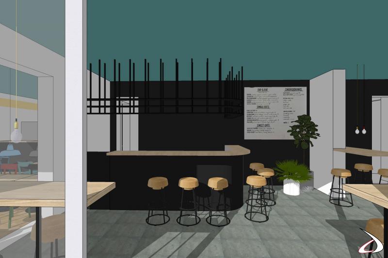 Progetto arredo bar in 3D