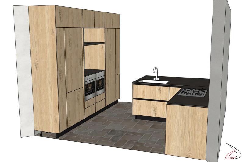 Render progetto cucina di design con penisola in legno rovere nodato naturale