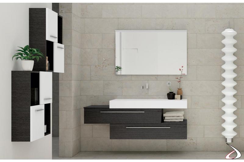 Bagno moderno sospeso con pensili e lavabo soprapiano