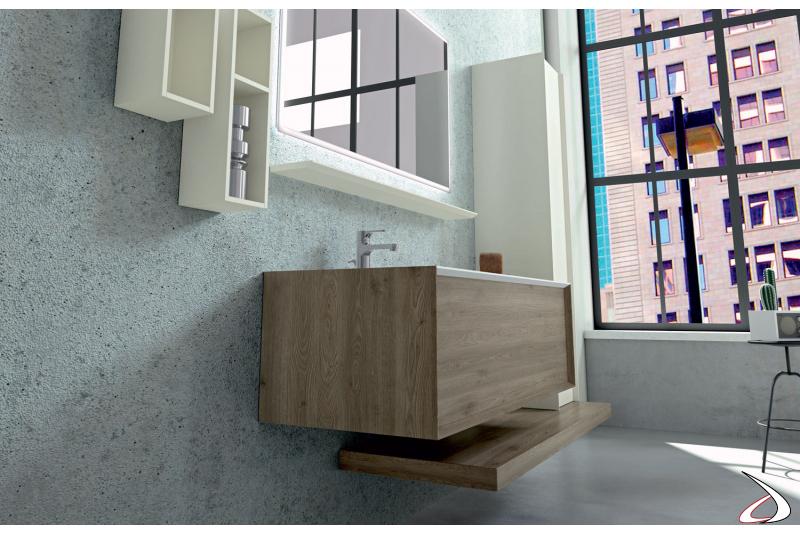 Bagno moderno in legno con cassettone