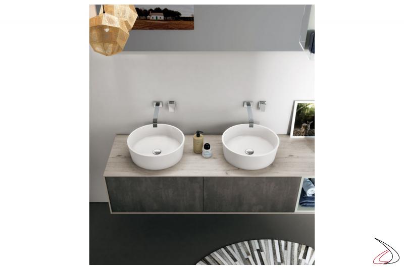 Arredo bagno moderno con doppio lavabo rotondo soprapiano in tecnoril