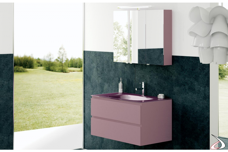 Arredo bagno moderno con consolle in vetro e specchiera contenitore