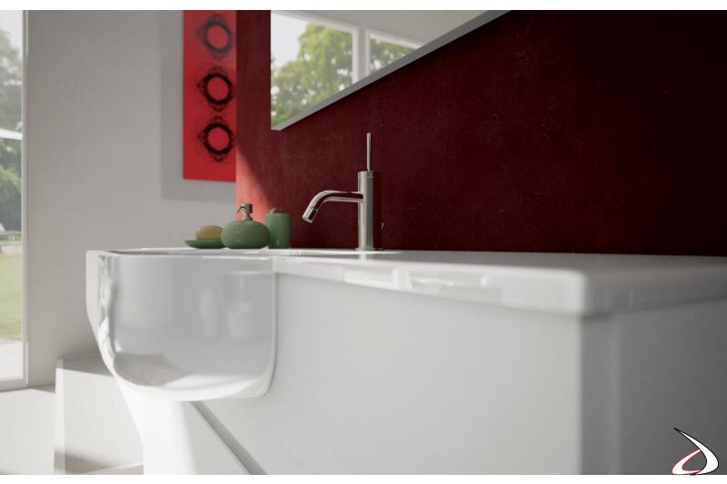 Consolle a semincasso in ceramica per mobile bagno