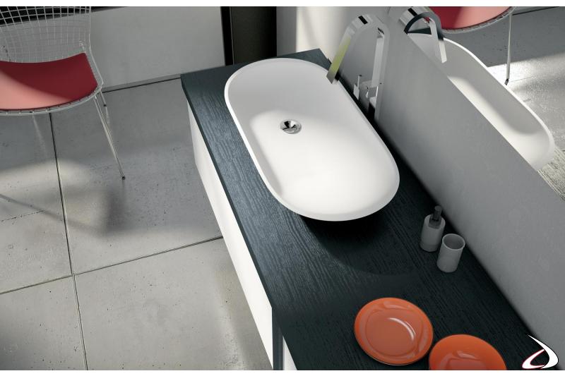 Lavabo soprapiano in tecnoril per bagno moderno