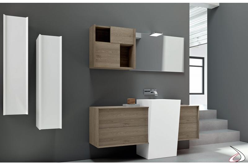 Bagno dal design contemporaneo ed originale con mobili capienti