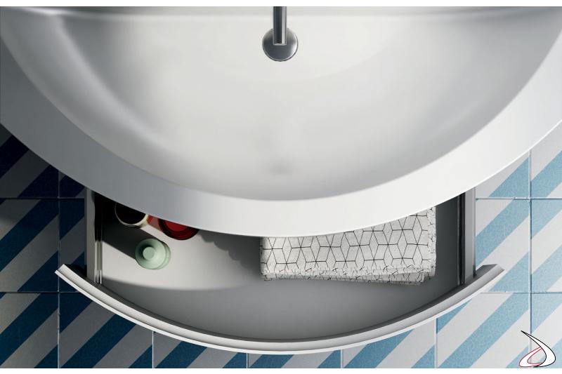 Mobile bagno sospeso con cassetto arrotondato
