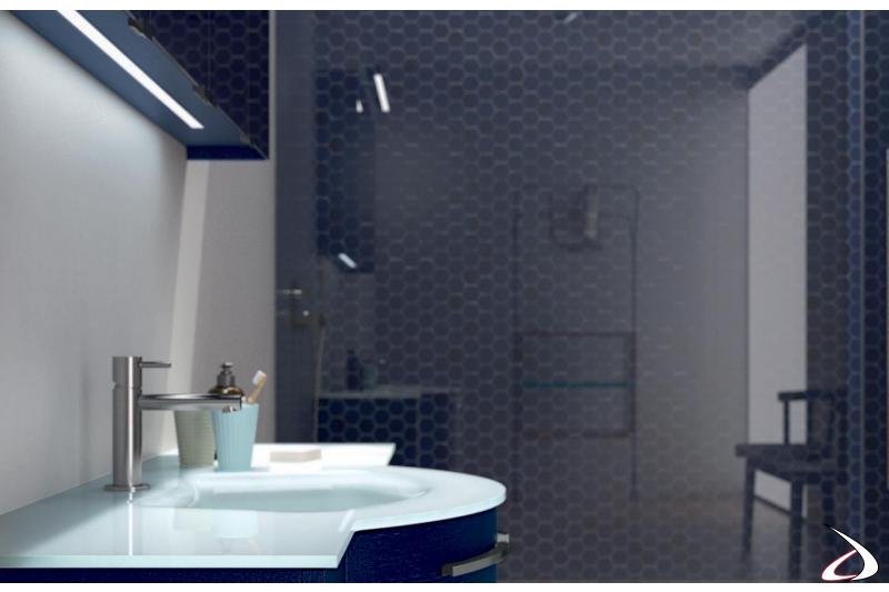Mobile bagno sospeso con led inferiore specchiera contenitore