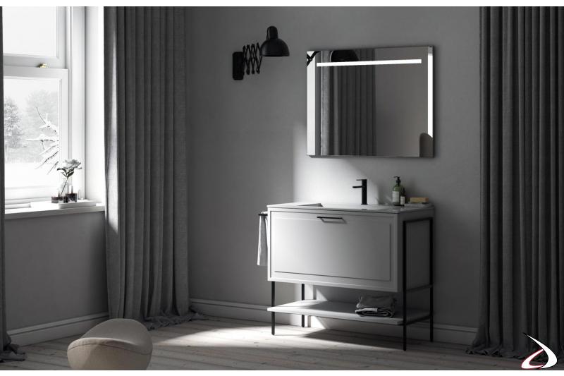 Mobile bagno piccolo bianco classico moderno con gambe in metallo con porta salviette