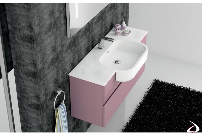 Consolle in ceramica bianca a semincasso per bagno moderno