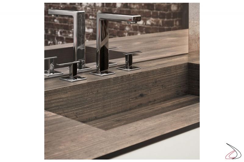 Mobile bagno sospeso moderno con vasca integrata nel top in HPL