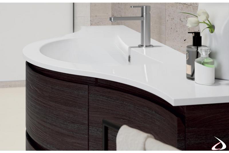 Consolle curva con vasca integrata in mineral marmo
