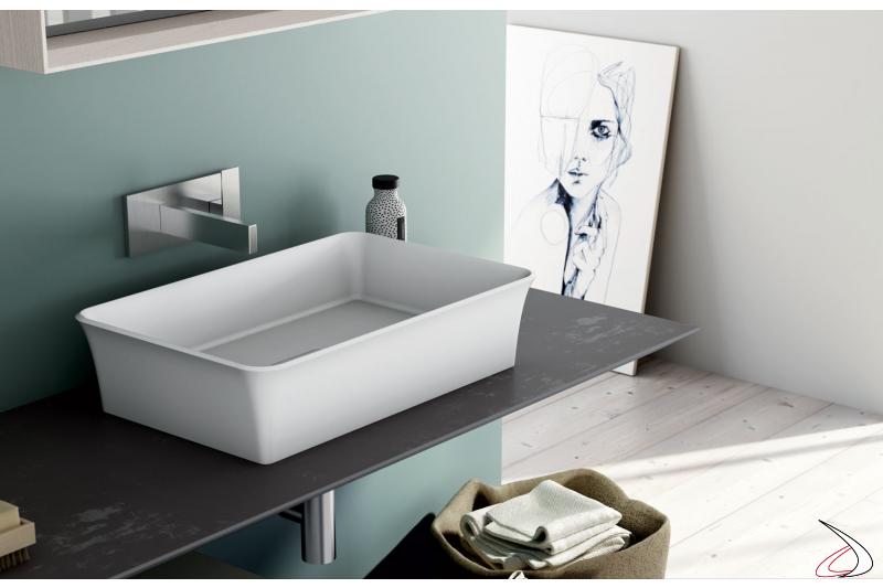 Lavabo squadrato in mineral marmo bianco