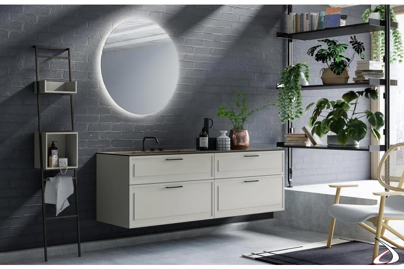 Mobile bagno sospeso in laccato grigio opaco con cassetti e specchio rotondo retroilluminato