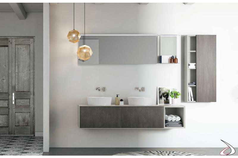 Bagno di design sospeso con doppio lavabo rotondo bianco soprapiano
