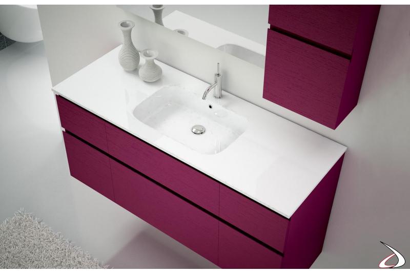 Lavabo con vasca integrata bianca lucida