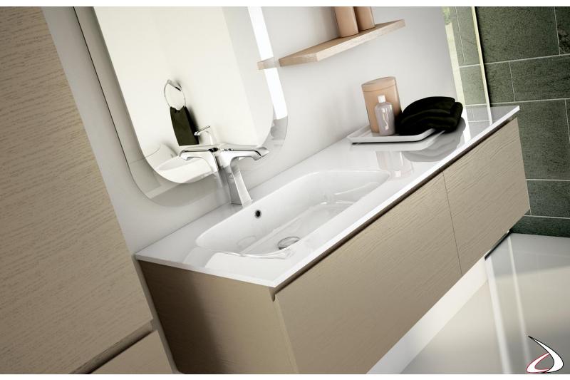 Mobile bagno sospeso in legno con consolle in mineral marmo